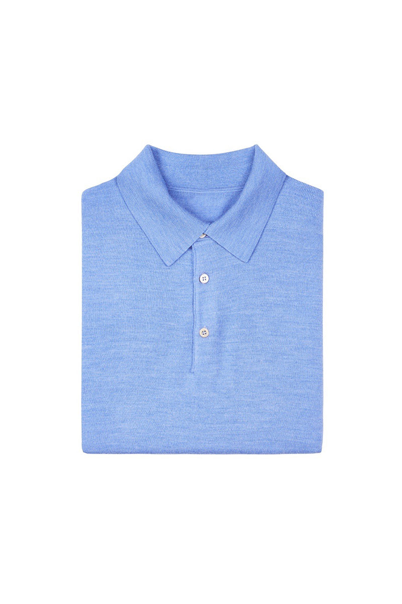 Light Blue Merino Wool Polo