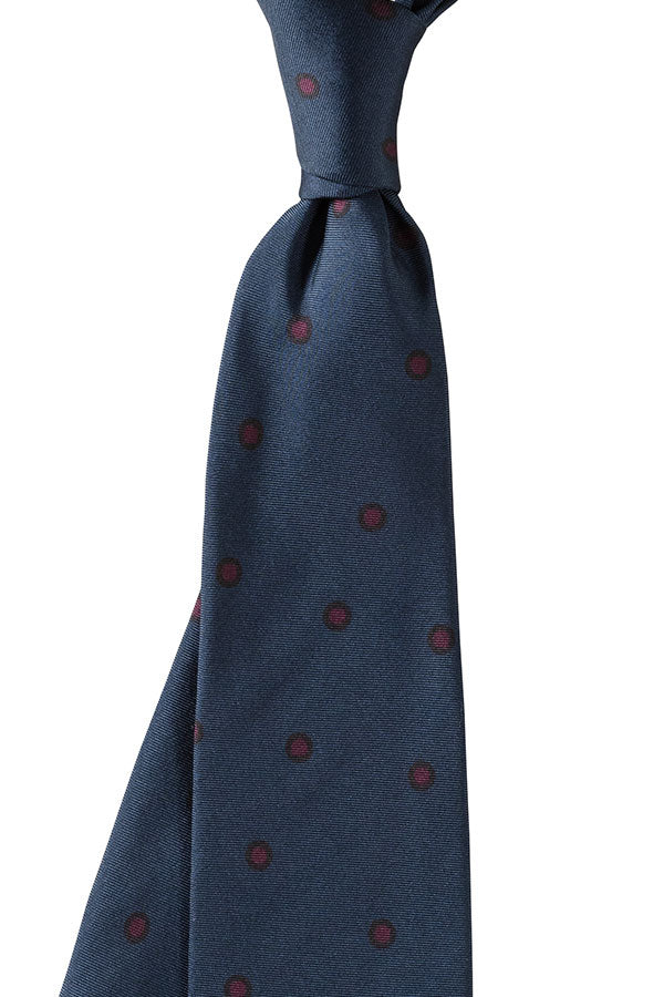Navy and Burgundy Polka Dot Tie