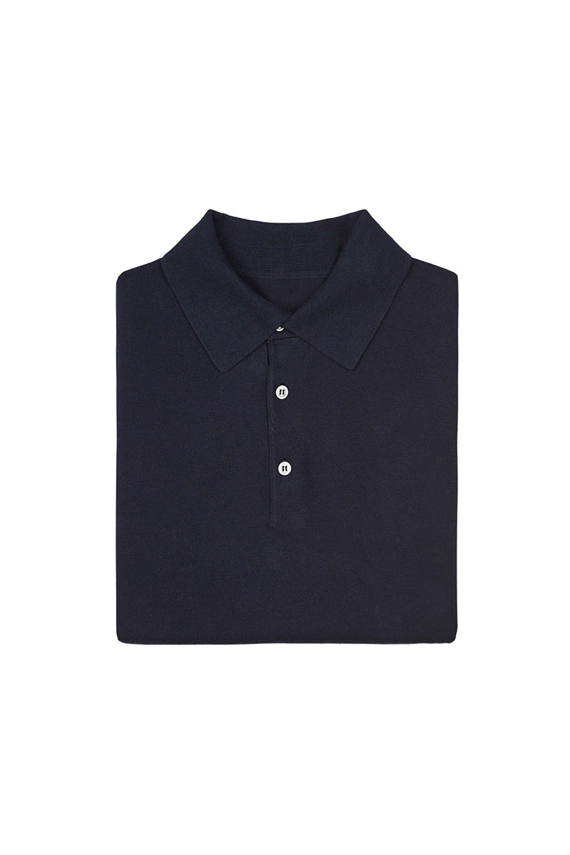 Navy Knitted Cotton Polo