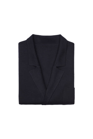 Navy S160 Merino Wool Double Breasted Cardigan