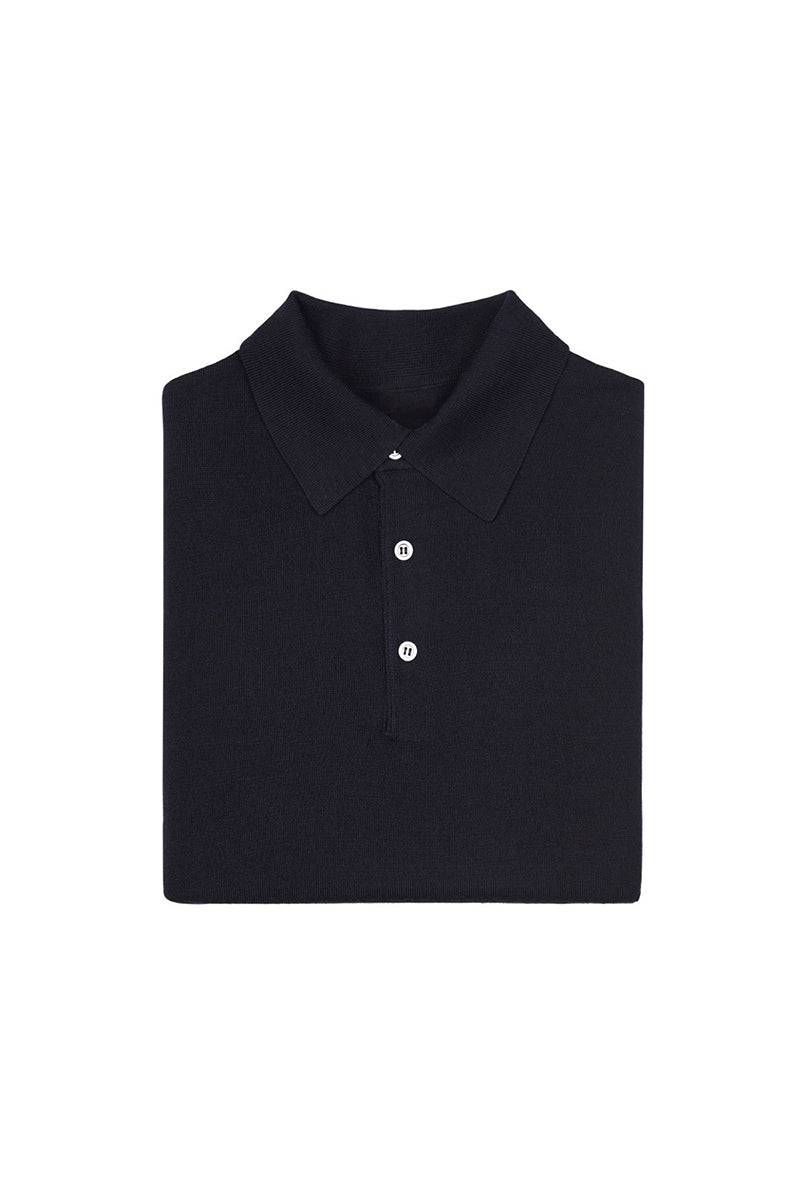 Navy S160 Merino Wool Polo