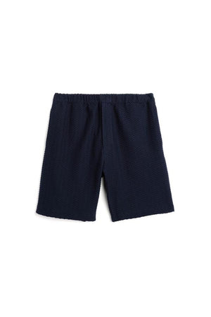 Navy Zig Zag Terry Shorts