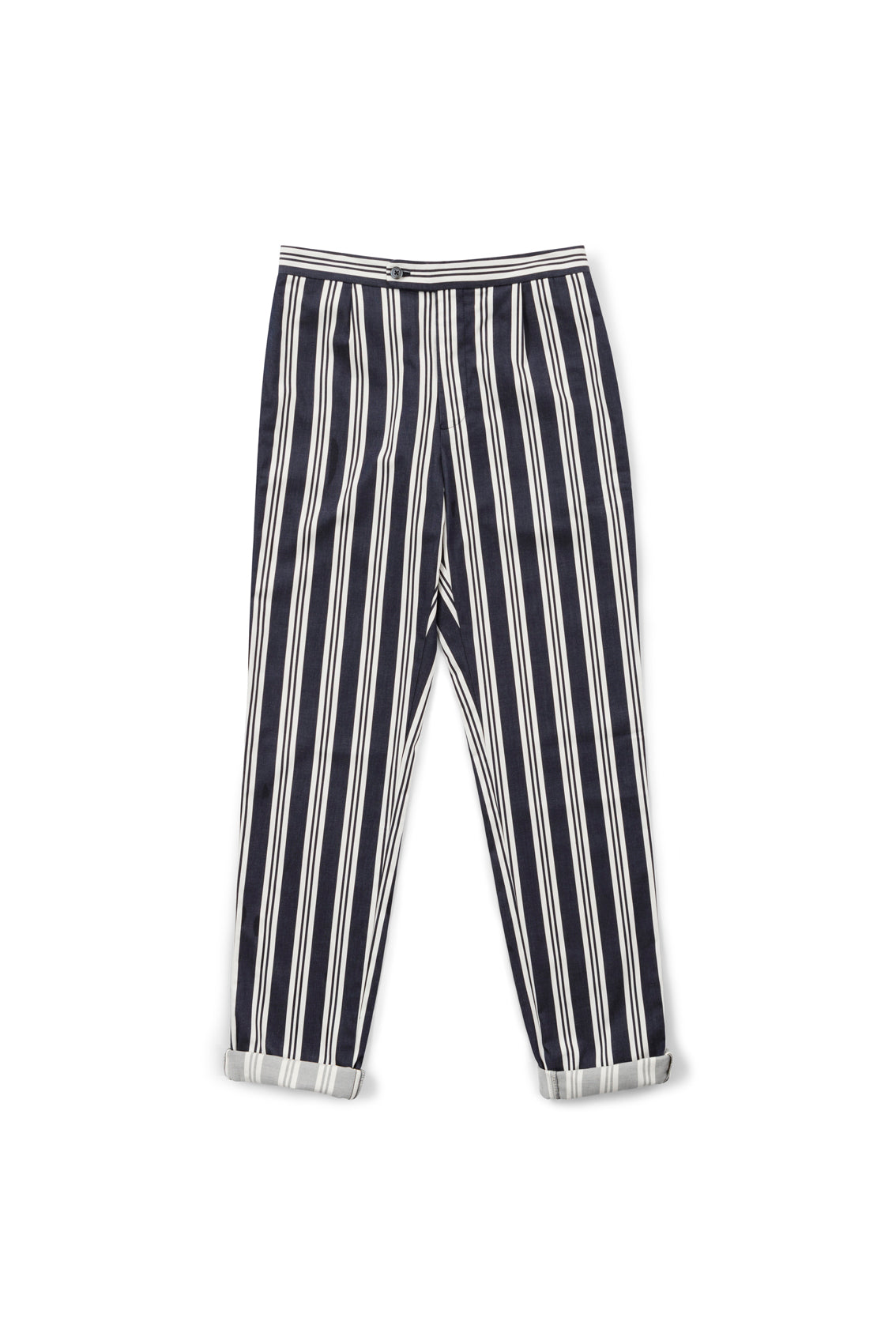 Navy and White Stripe Superfine Cotton Drawstring Trousers