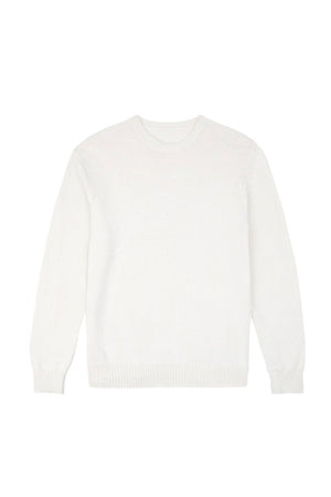 Off White Knitted Cotton Pullover