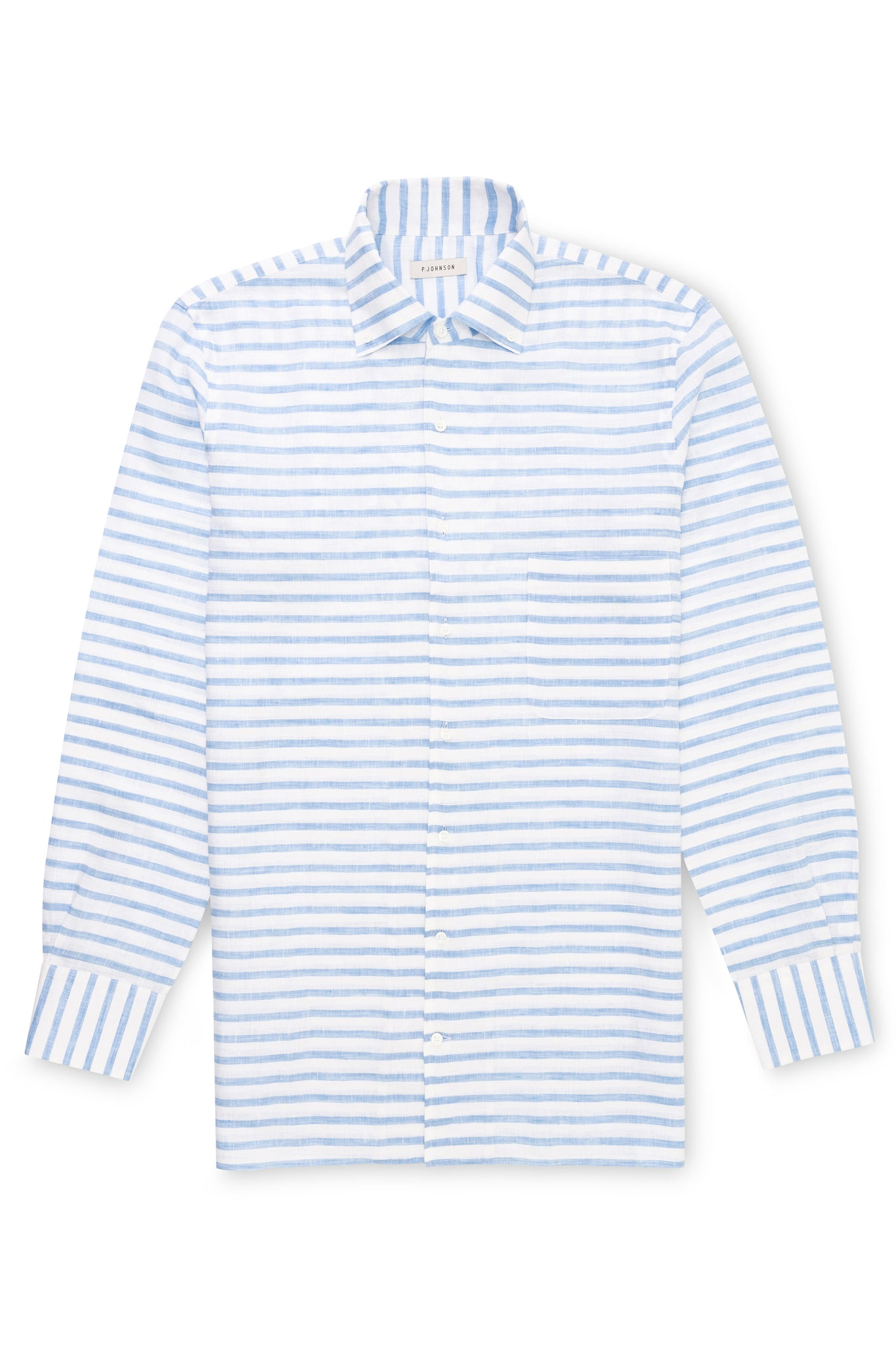 Blue and White Horizontal Stripe Linen Shirt