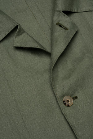 P Johnson Army Green Linen Shirt Jacket Detail