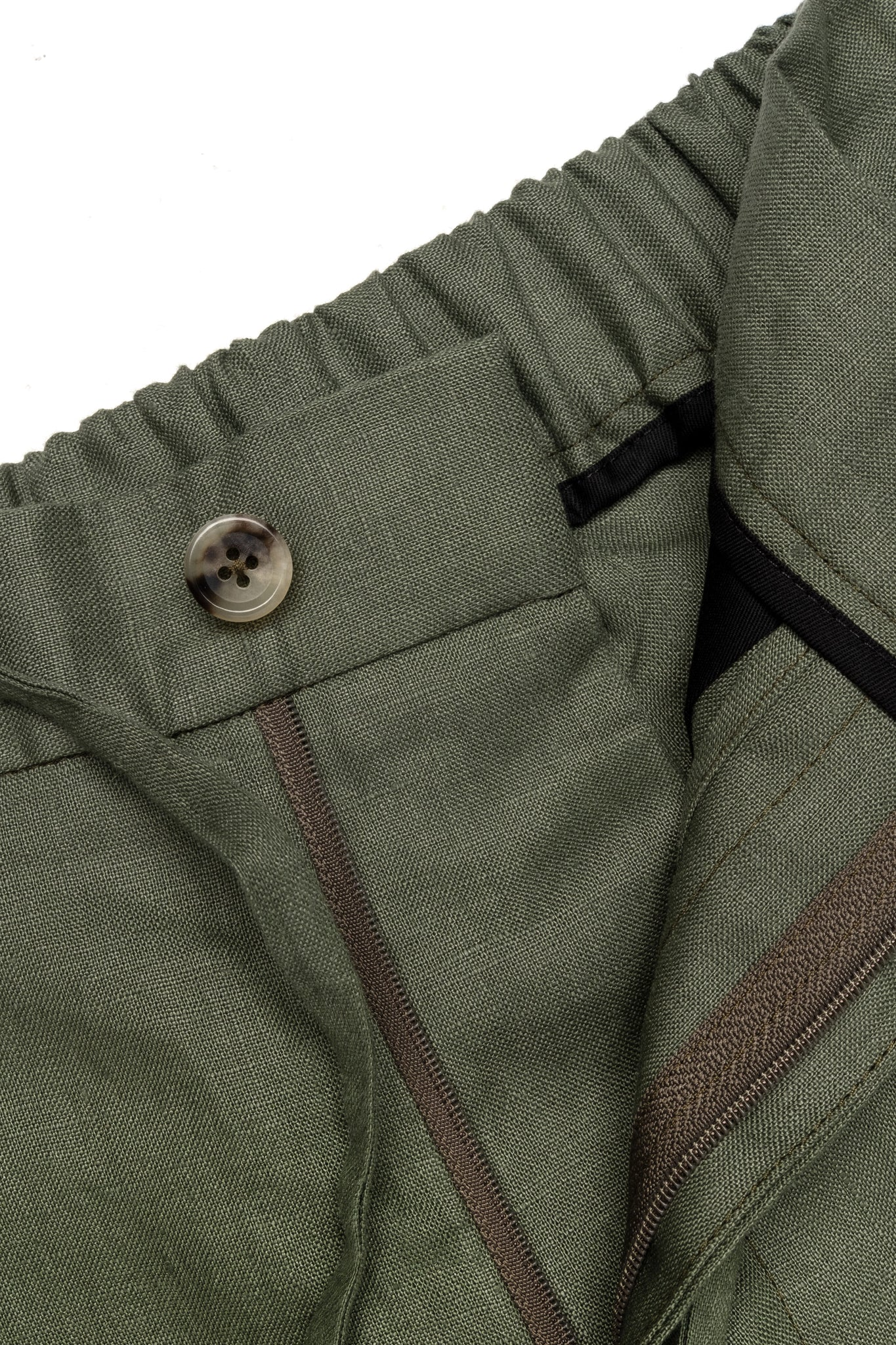 P Johnson Army Green Linen Drawstring Shorts