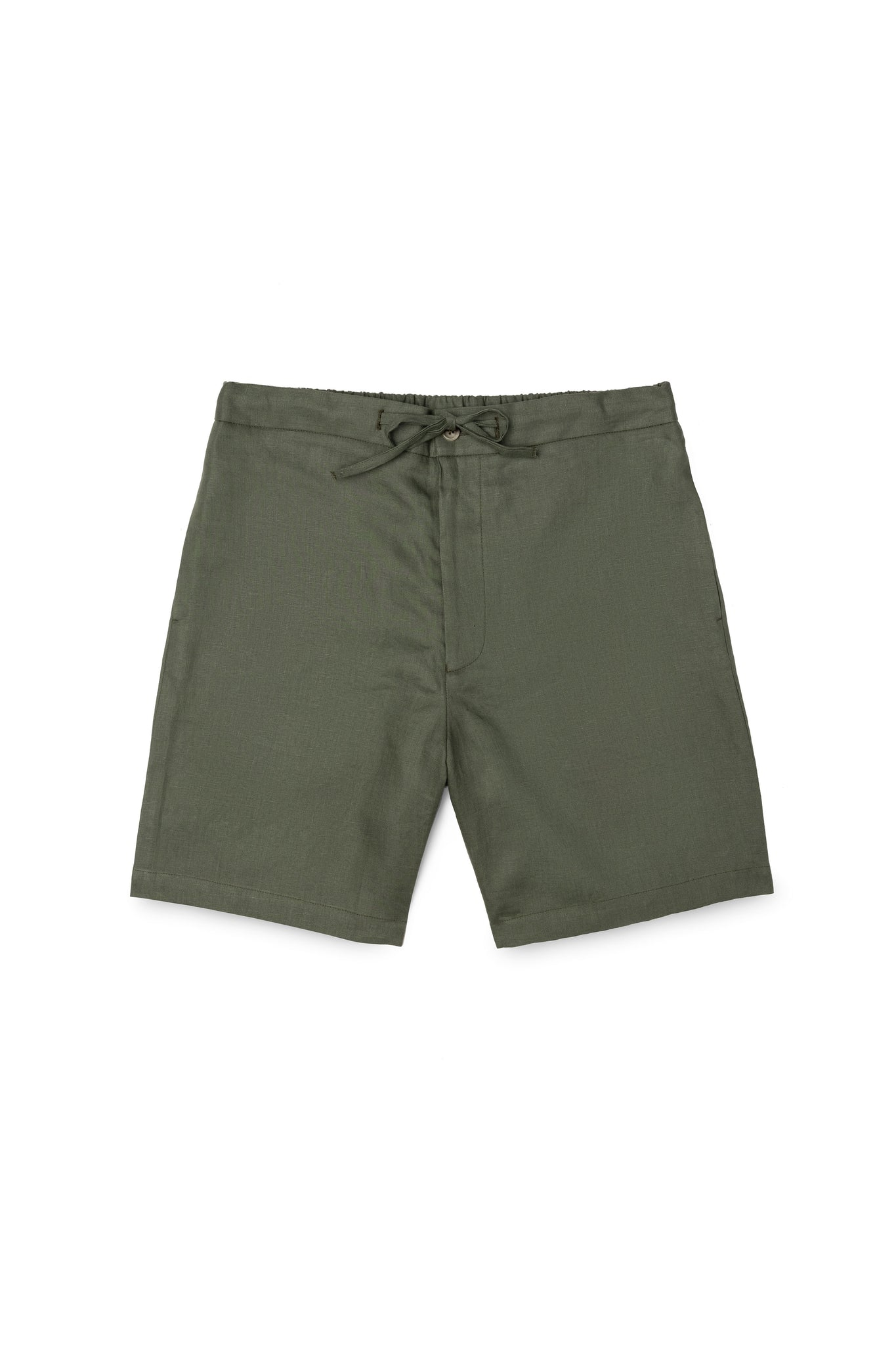 Army Green Linen Drawstring Shorts