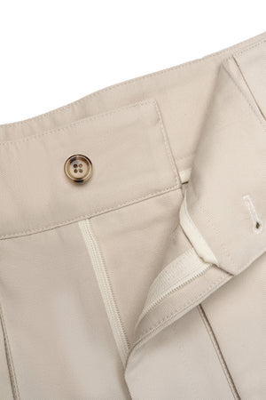 P Johnson Beige Cotton Linen Walking Shorts