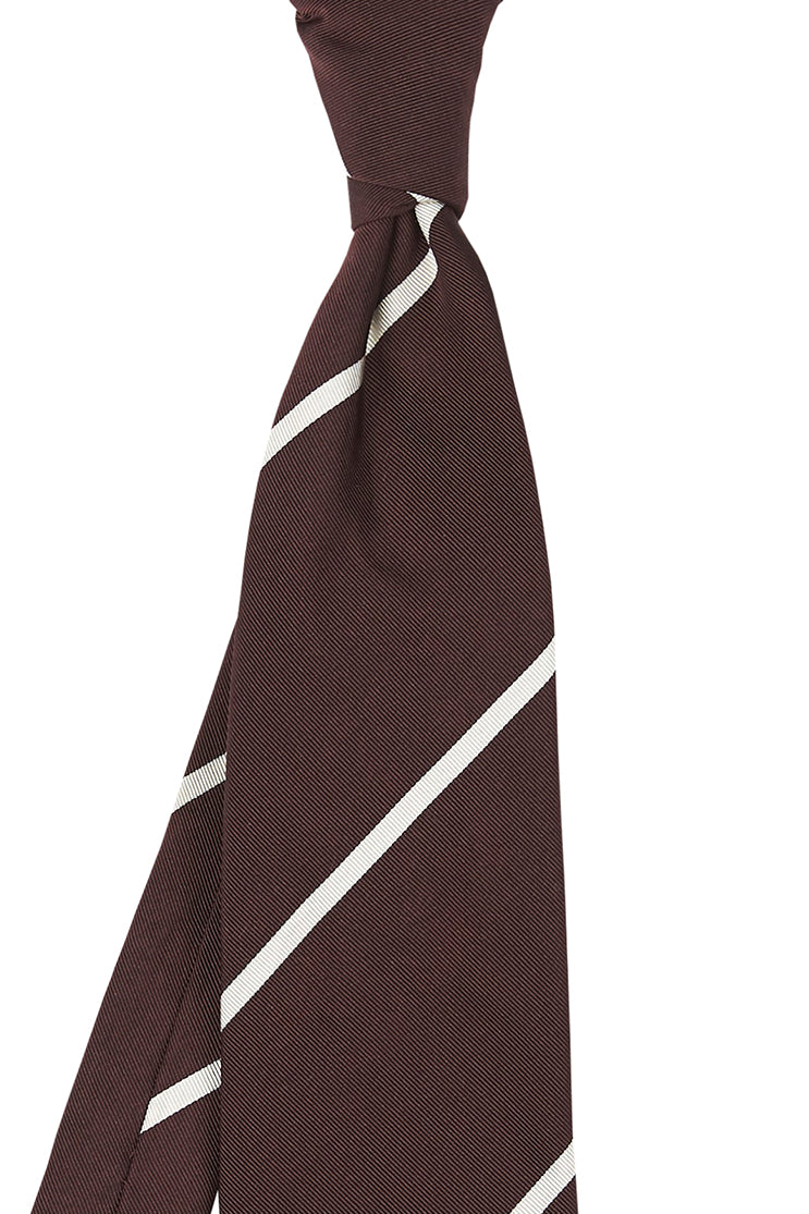 Wide Burgundy and Thin Cream Stripe Tie
