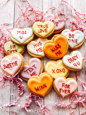 Conversation Heart Valentine's Day Mini Cookies