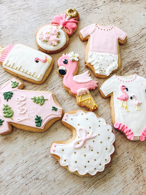 Flamingo Baby Shower Cookies