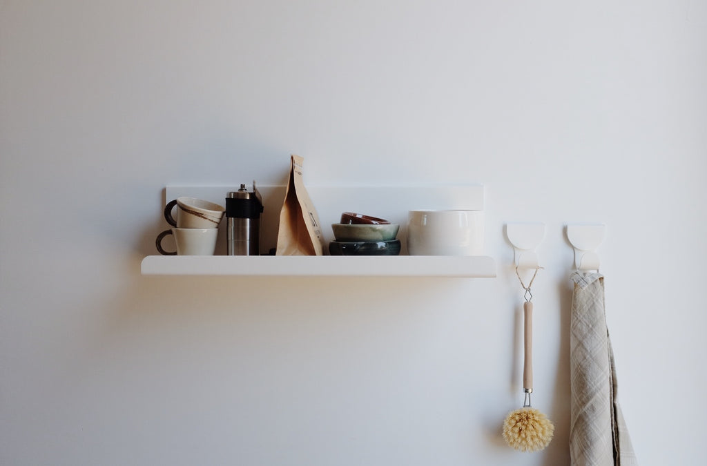 Waltz Minimal Place Shelf and Hooks in Matt White