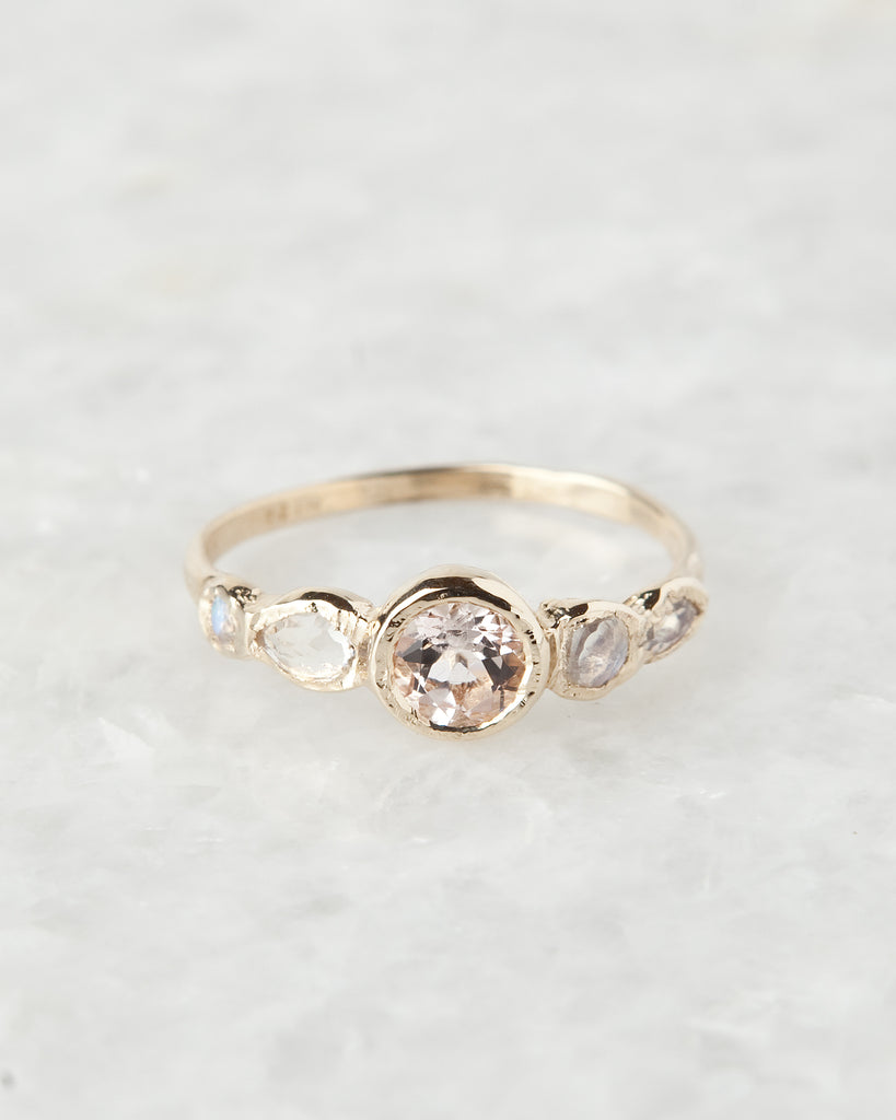 morganite & moonstone journey paradise ring