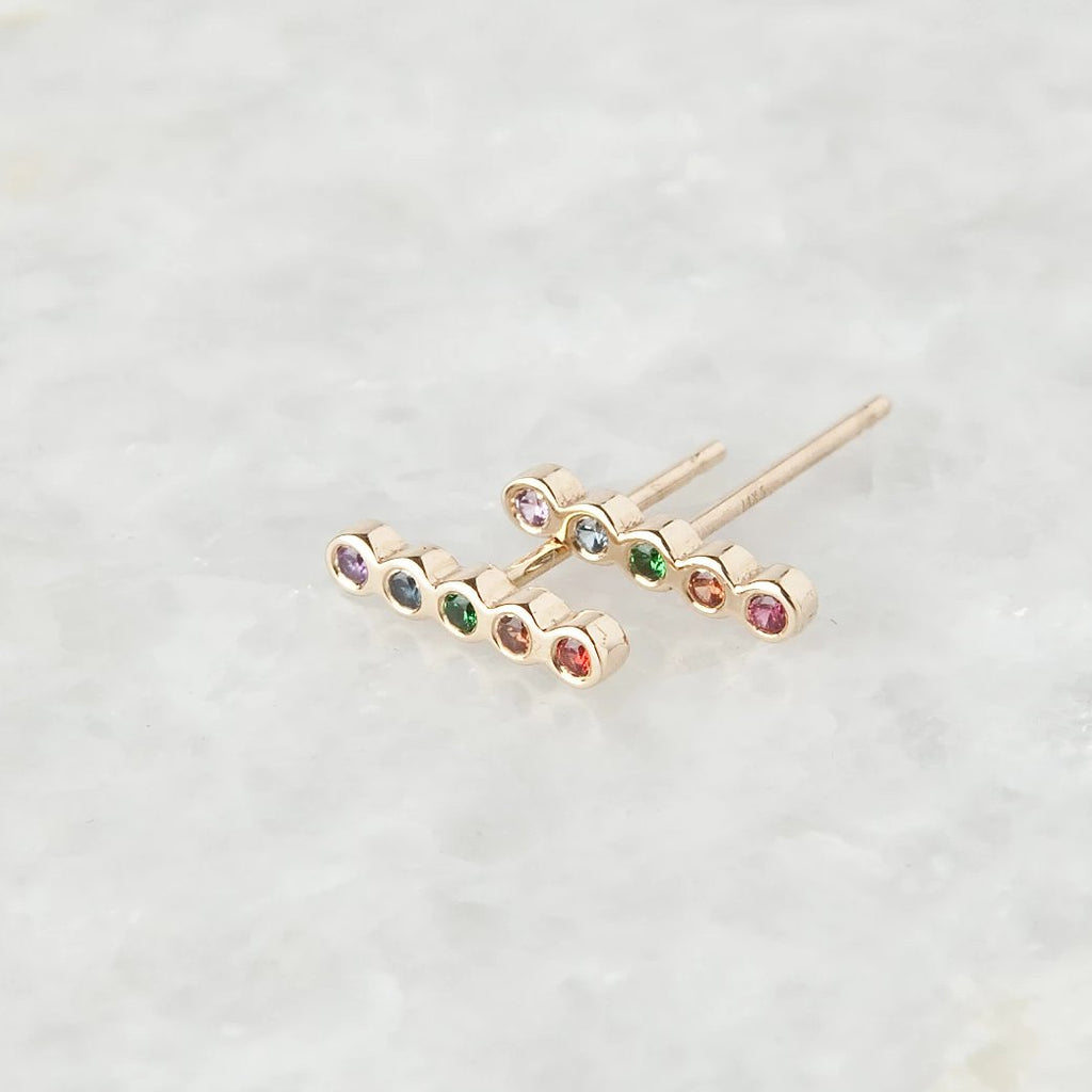 rainbow bezel bar stud