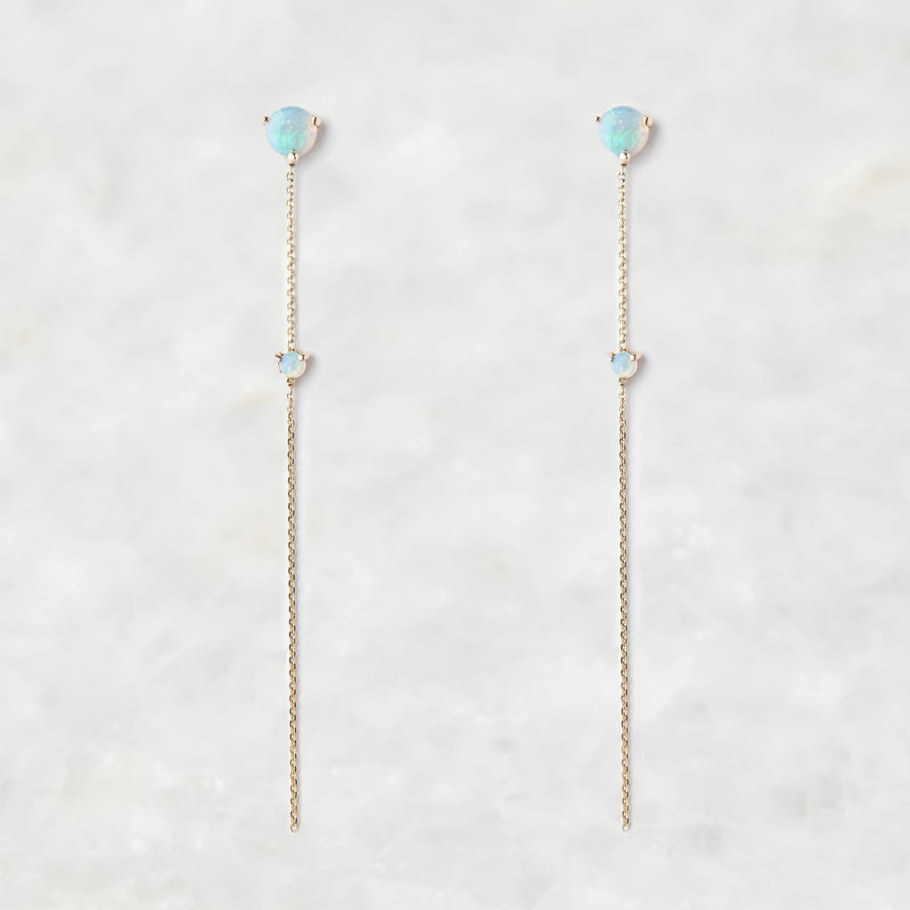 opal two stone drop earrings