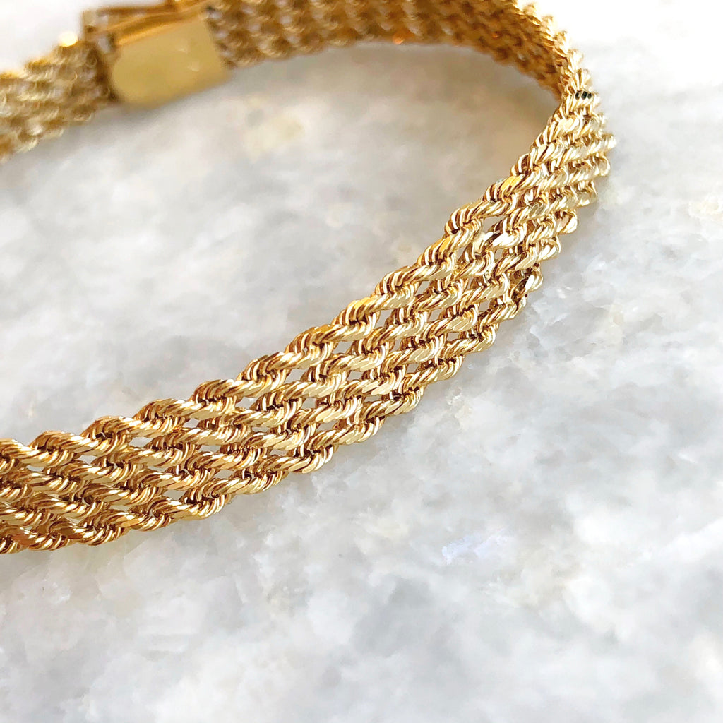 vintage four row rope chain bracelet