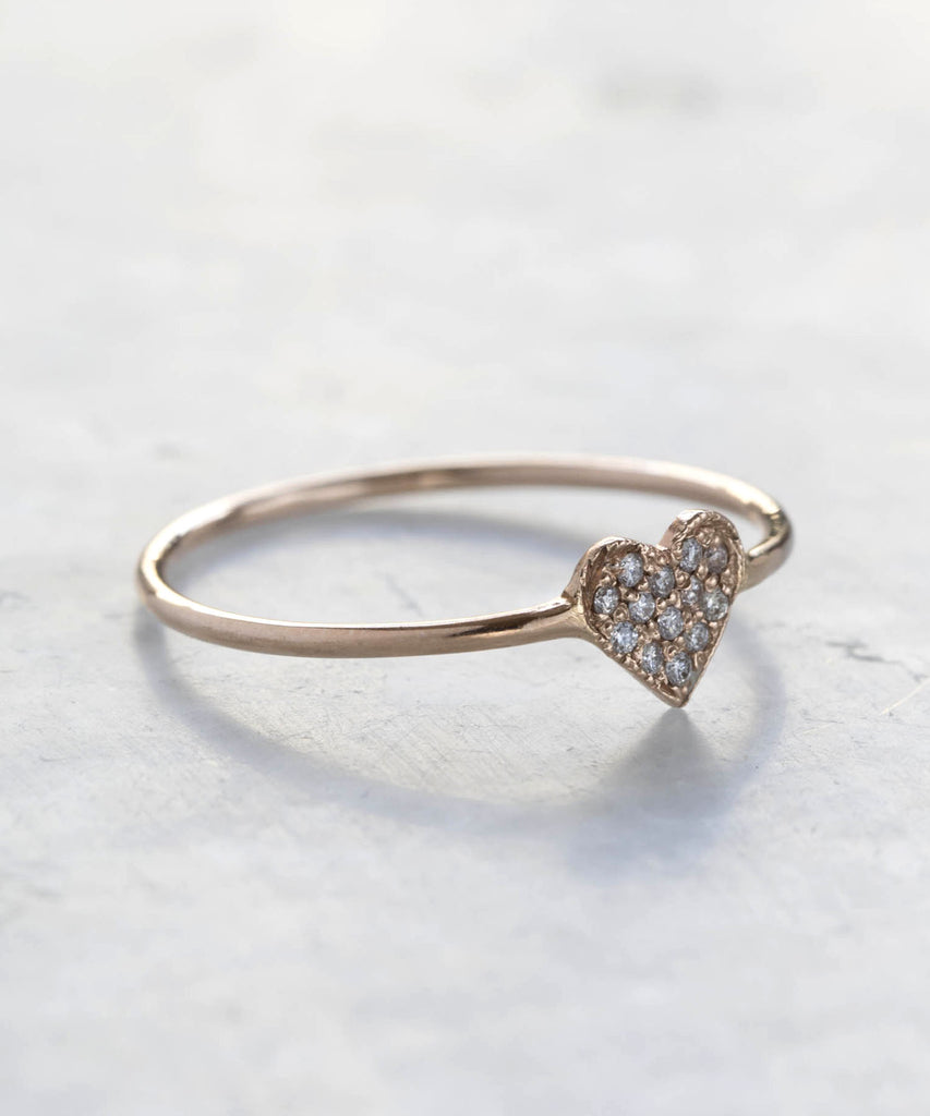 pavé diamond heart shape ring