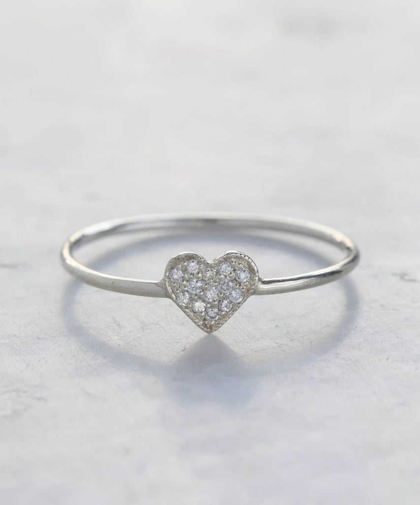 pavé diamond shape ring