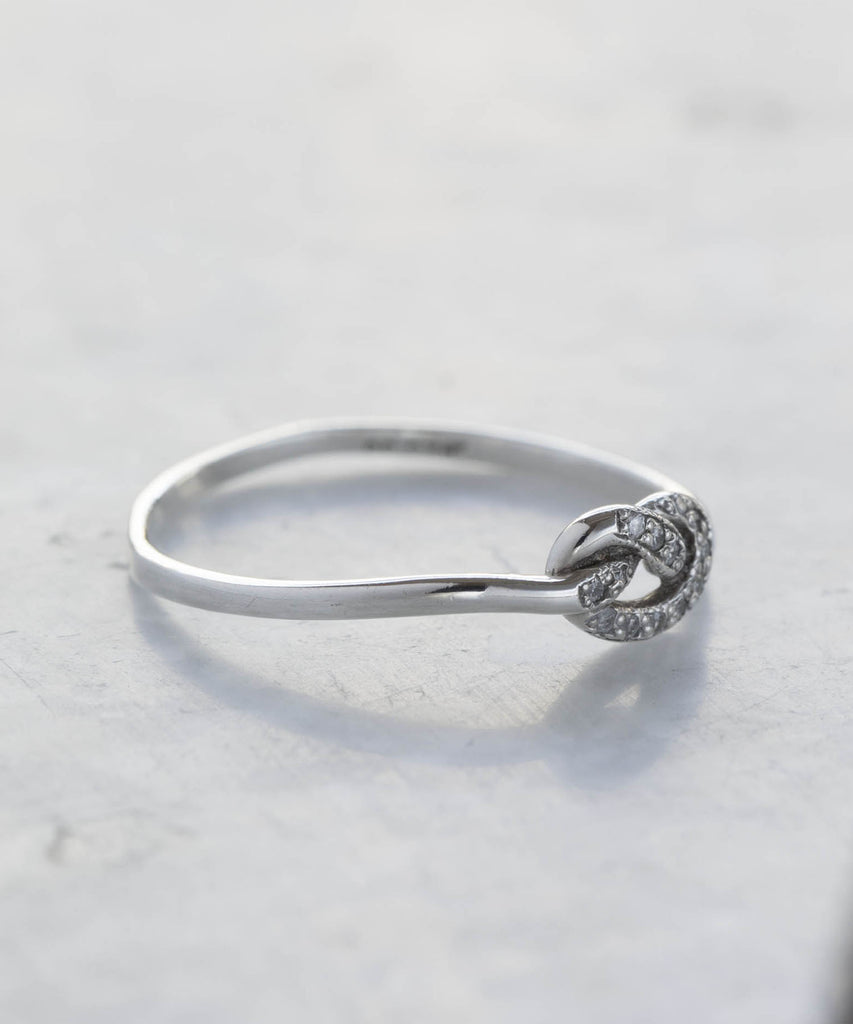 love knot pave diamond ring