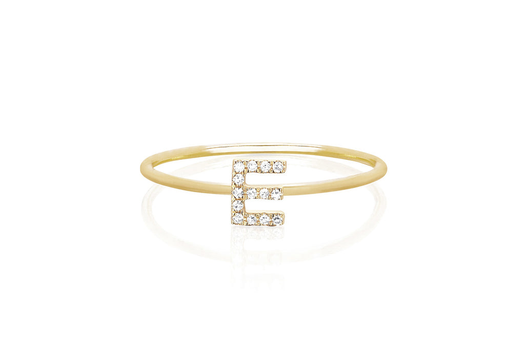 diamond initial stacking ring - Letter W
