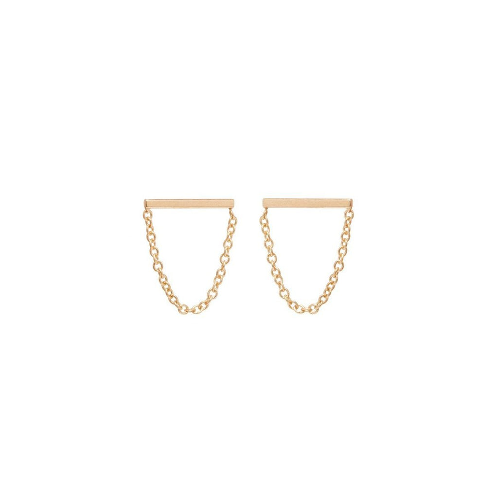 chain bar stud drop earring