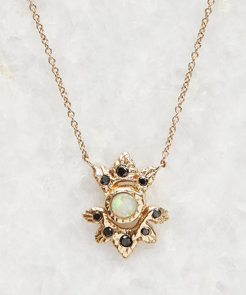 opal & black diamond light burst necklace
