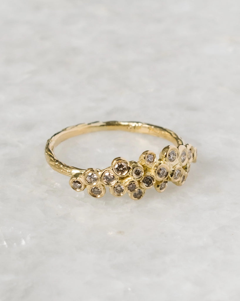 brown diamond cluster ring
