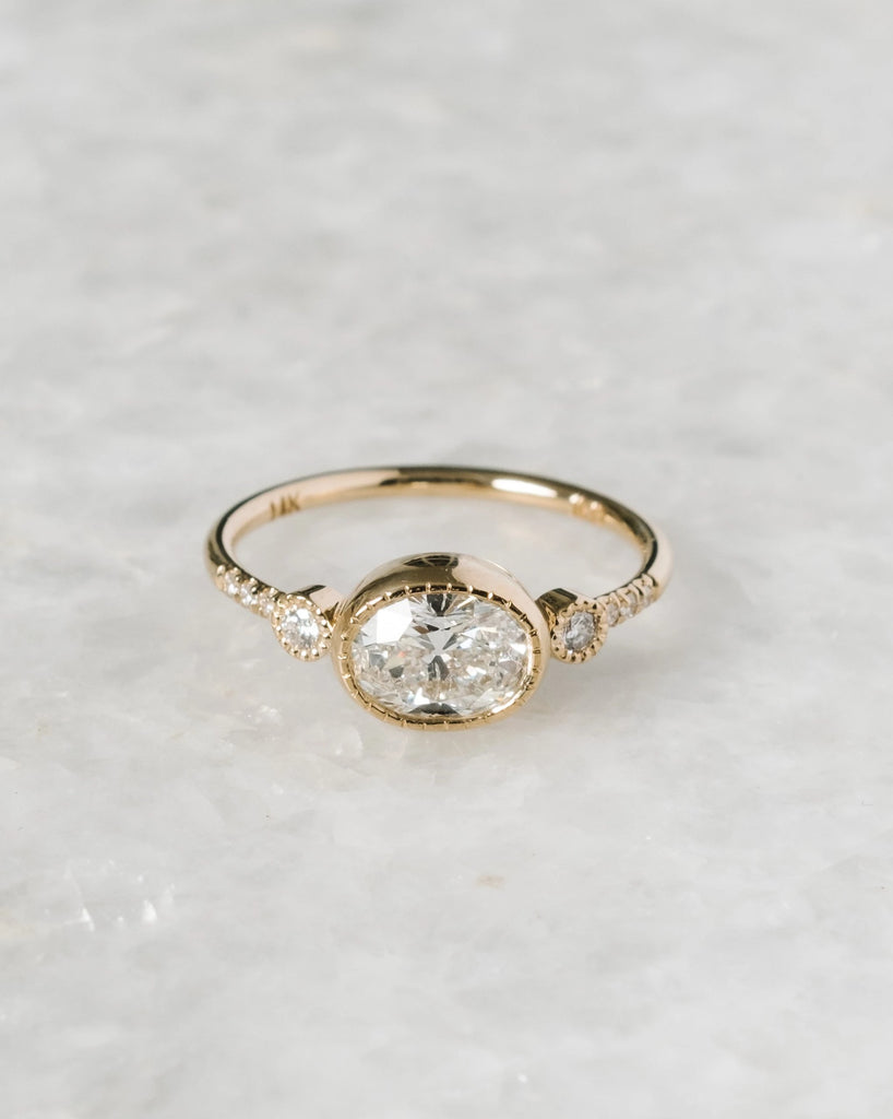 OAK oval euro cut diamond reese equilibrium ring