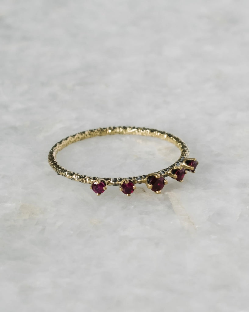 homespun five-stone ruby ring