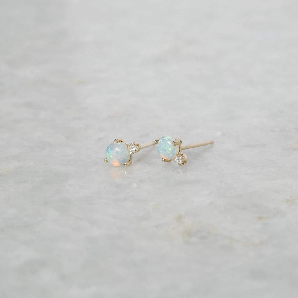classic opal and diamond earring