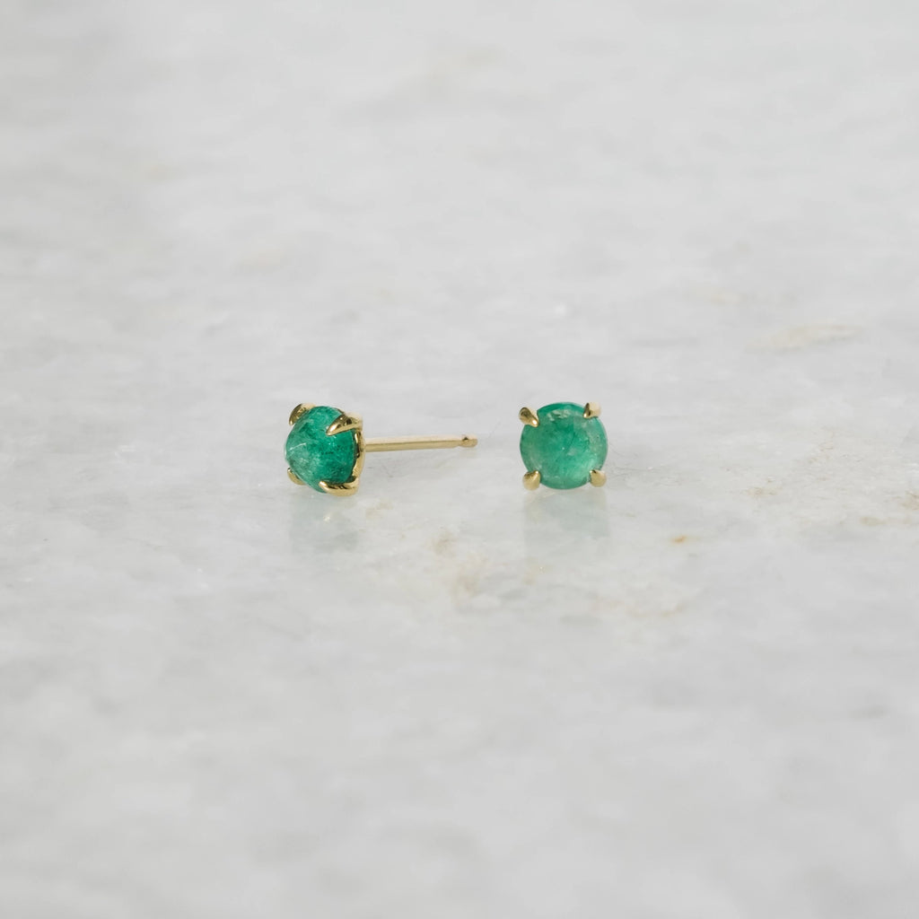 clarence studs in emerald