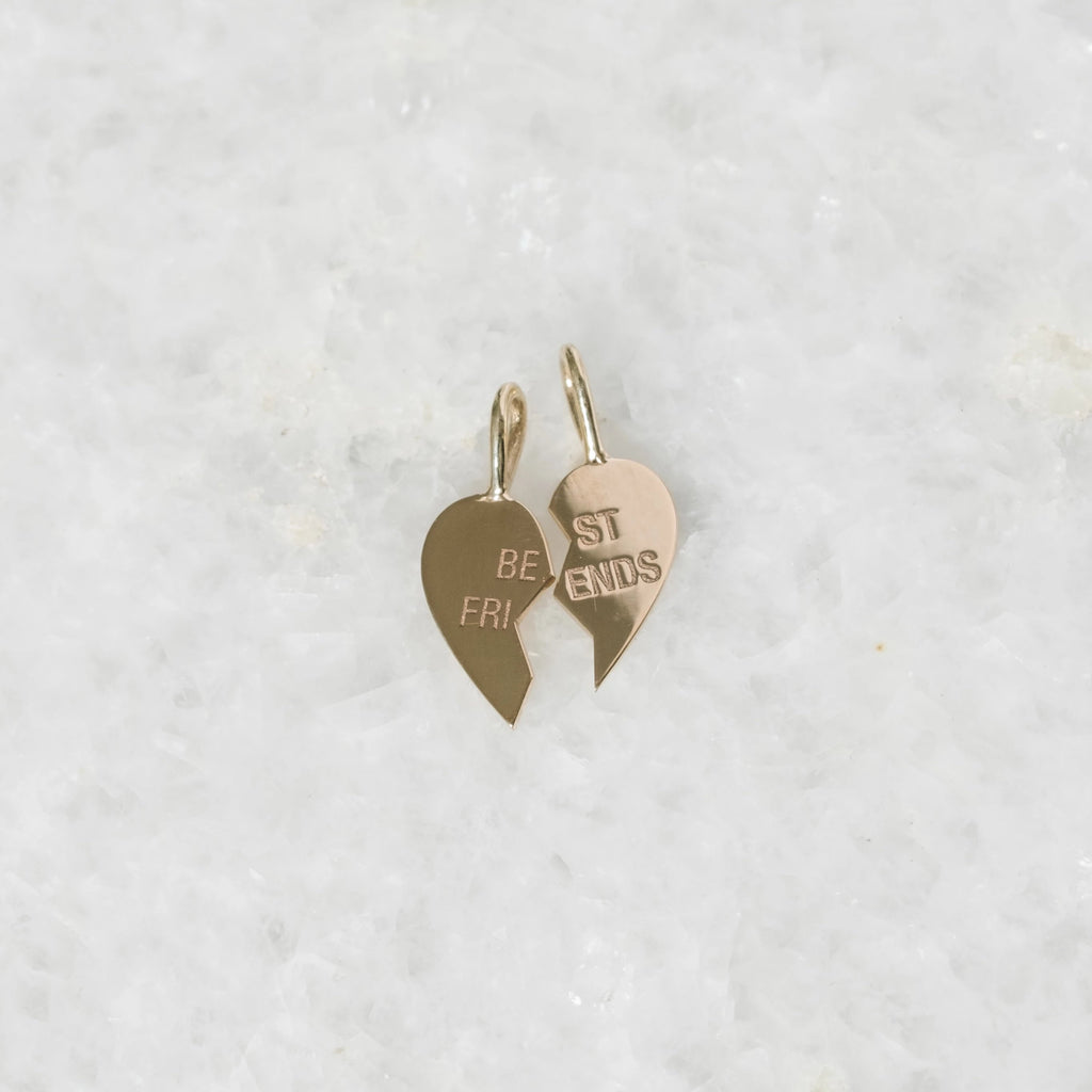 """best friends"" split heart charms"