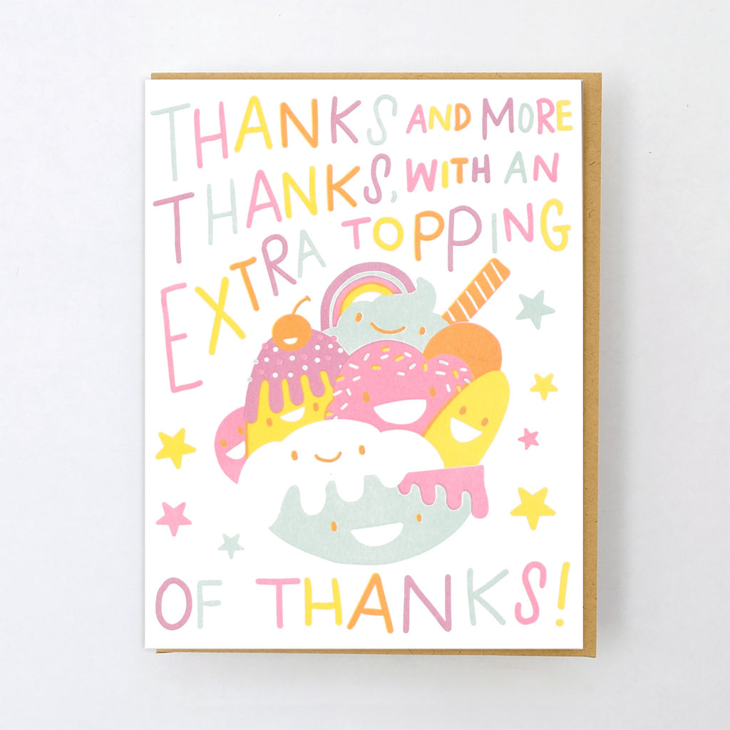 """thanks a lot and more"" ice cream sundae card"