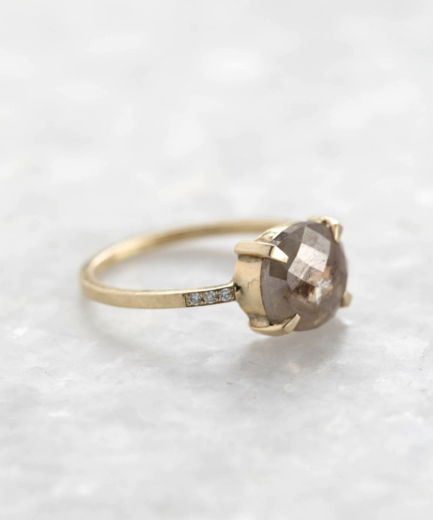 rustic diamond slice equilibrium ring
