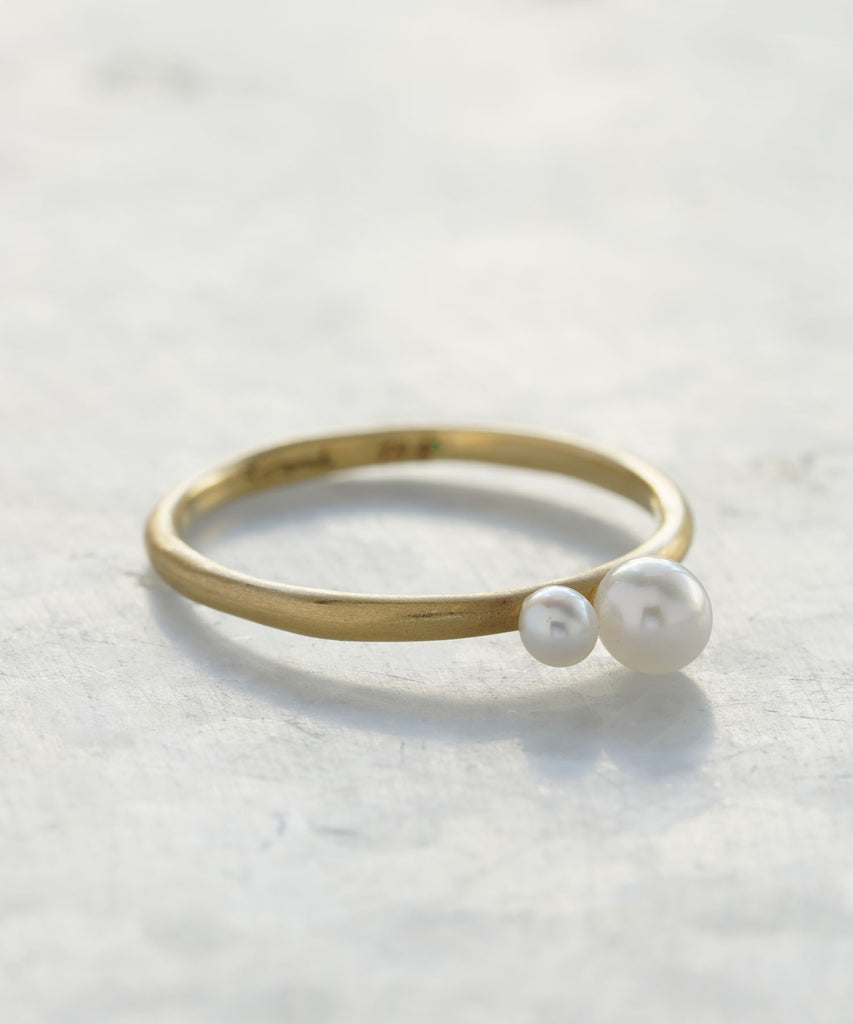 married double pearl ring