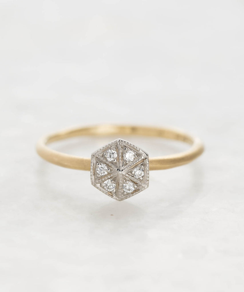 diamond pave hexagon ring