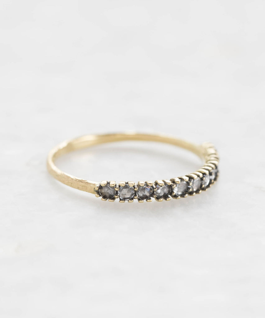 rhodium-backed diamond half eternity band