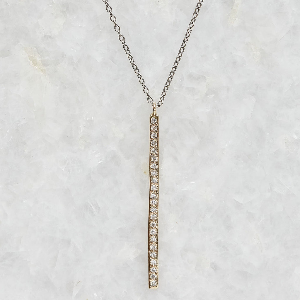 long diamond pave bar necklace