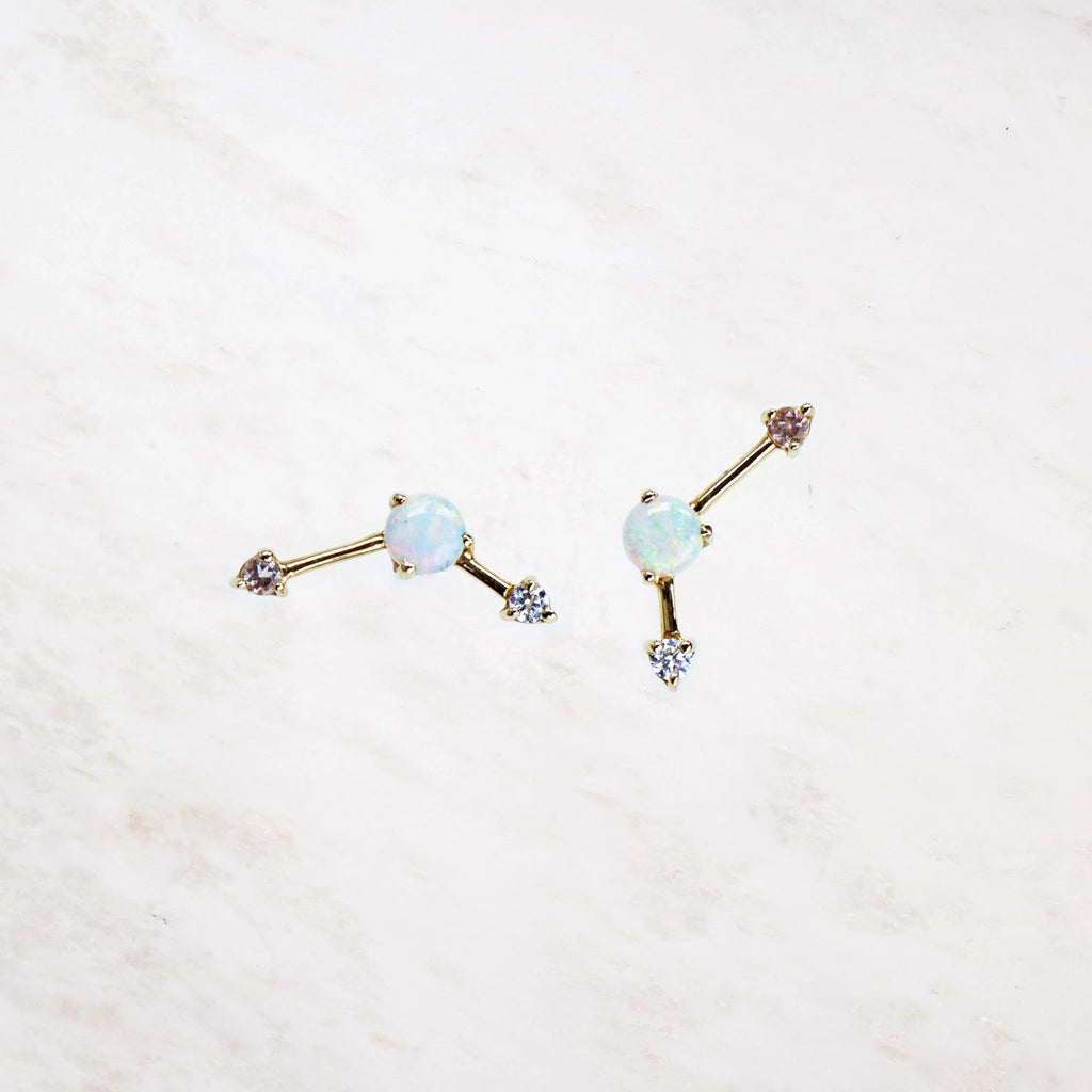 white opal blush three step point earring