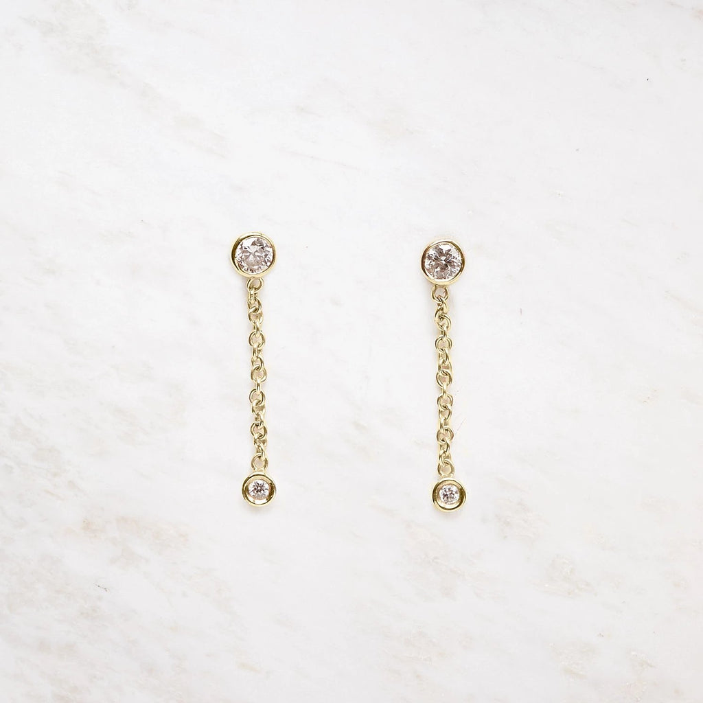 diamond chain drop earring
