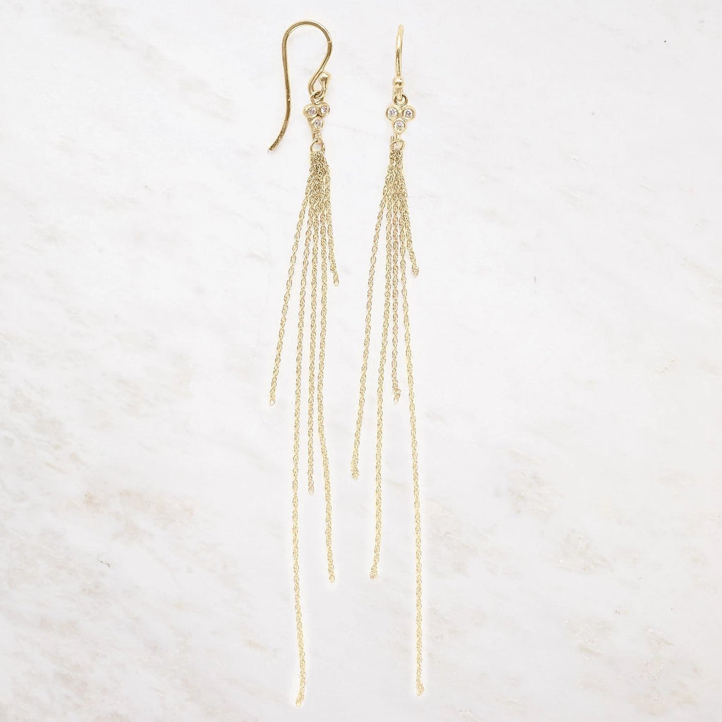 seed tassel earrings - 14k yellow gold