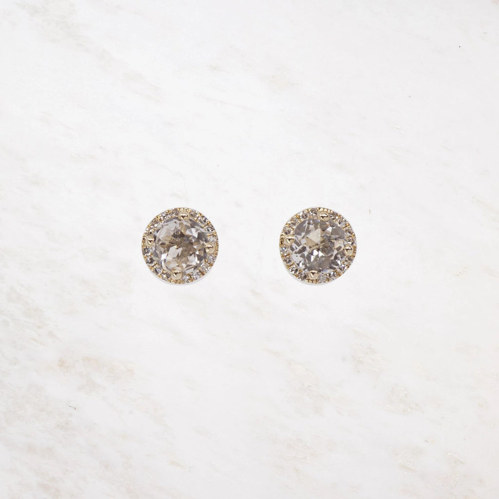 diamond white topaz studs