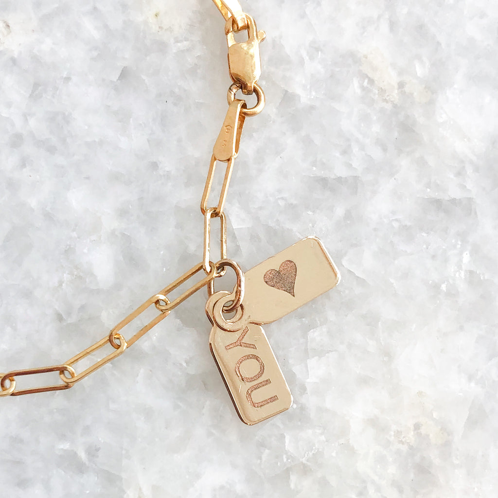 """♡ you"" double tag bracelet"