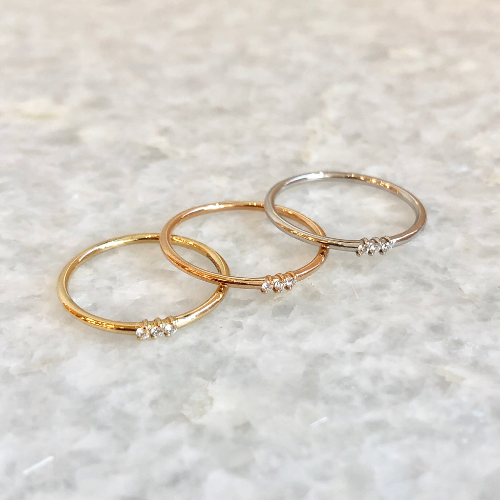 three diamond stacking ring