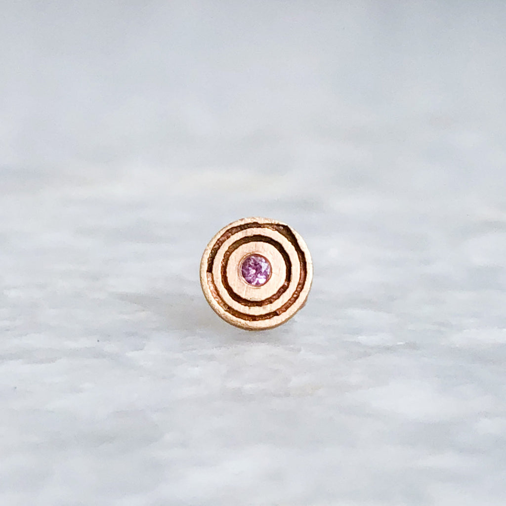pink sapphire target earring