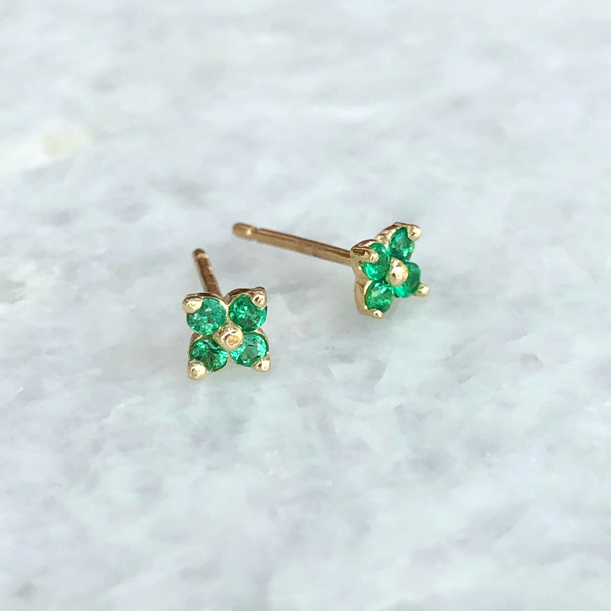 The Lucky Little Clover Earring in Emerald