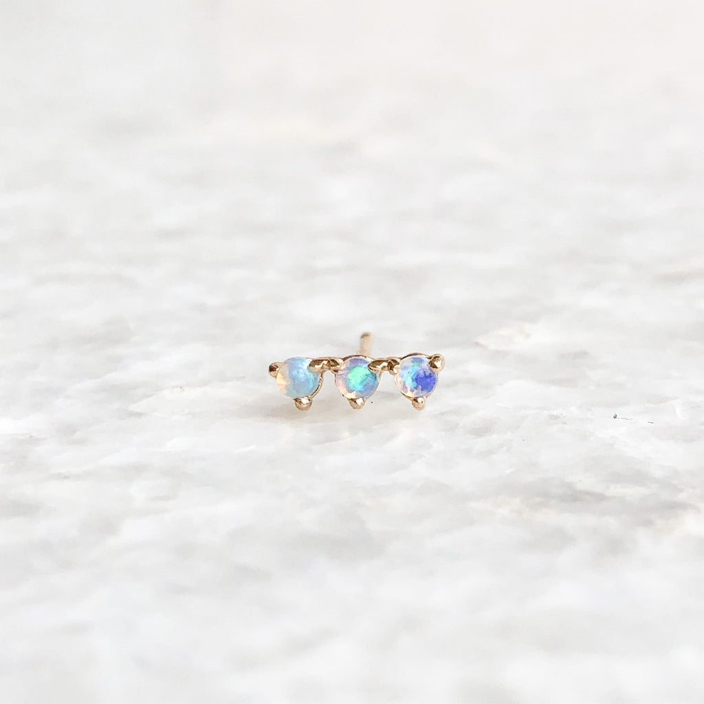 three step opal earring
