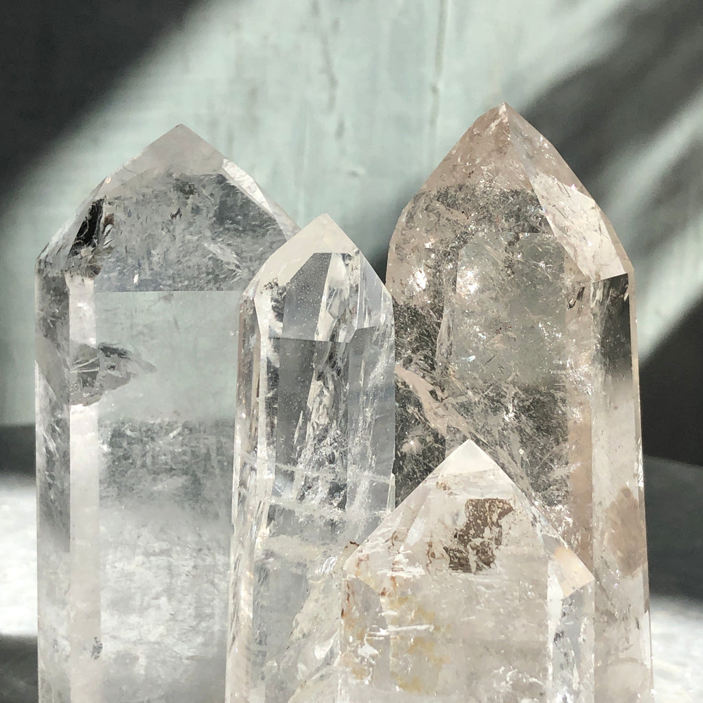 desktop clear quartz pillars