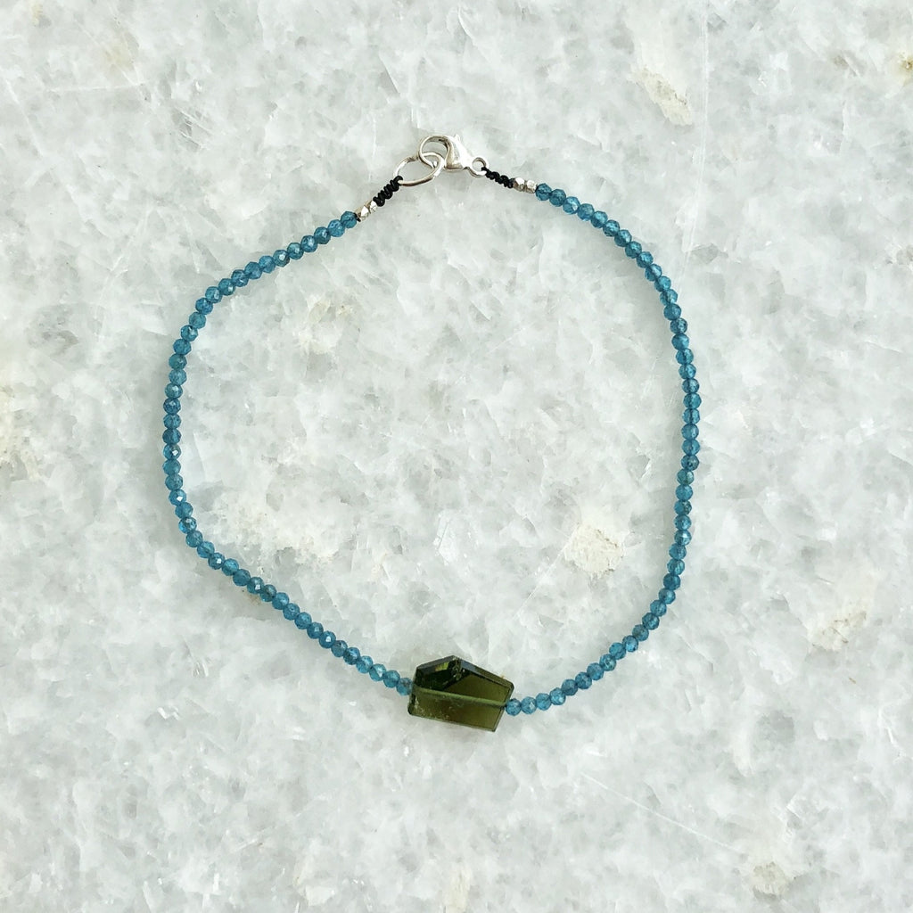 blue apatite and tourmaline beaded bracelet